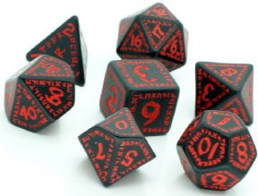 Black & Red Runic Dice Set
